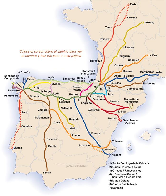 mapa głównych szlaków (dzięki uprzejmości www.gronze.com)