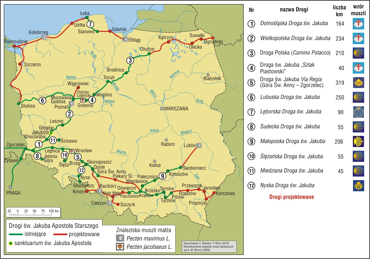 Droga św. Jakuba w Polsce V 2010 Muszle i numeracja, wyk. dr Franciszek Mróz